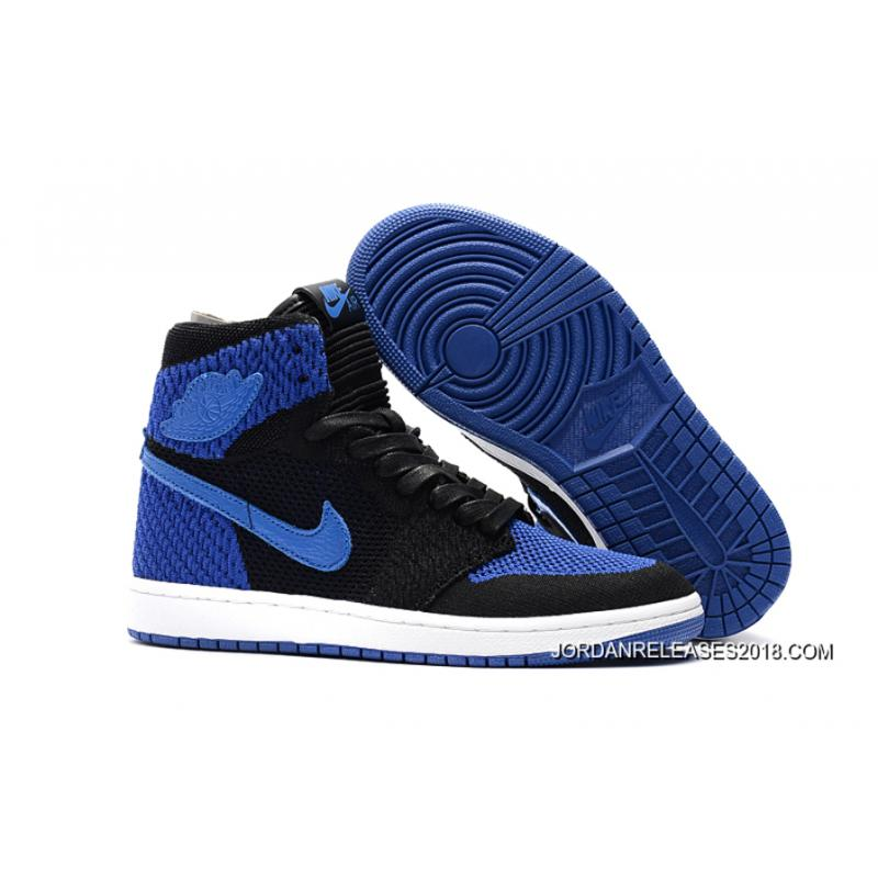 "low cost 96031 40757 Air Jordan 1 Flyknit ""Royal"" Black Game Royal-White 2018 Outlet ..."