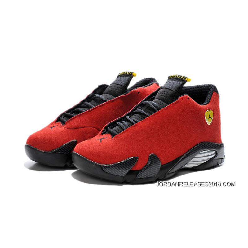 "dab0af1342db ... Air Jordan 14 ""Ferrari"" Chilling Red Black Vibrant Yellow 2018 Free  Shipping ..."