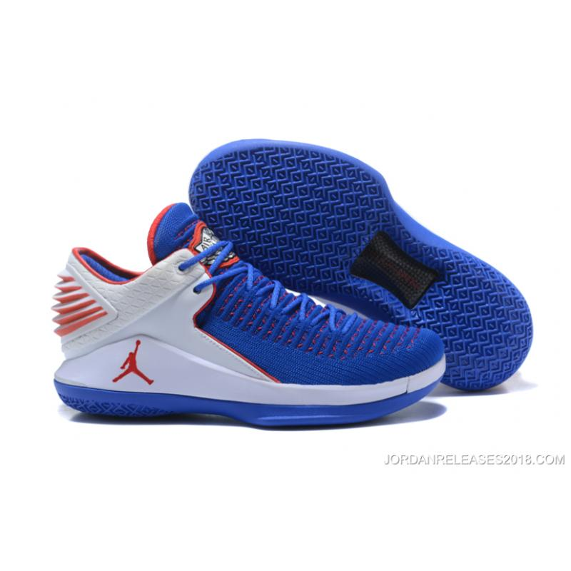 2018 Andre Drummond Air Jordan 32 Low Pe Royal BlueWhiteRed Flyknit New Release