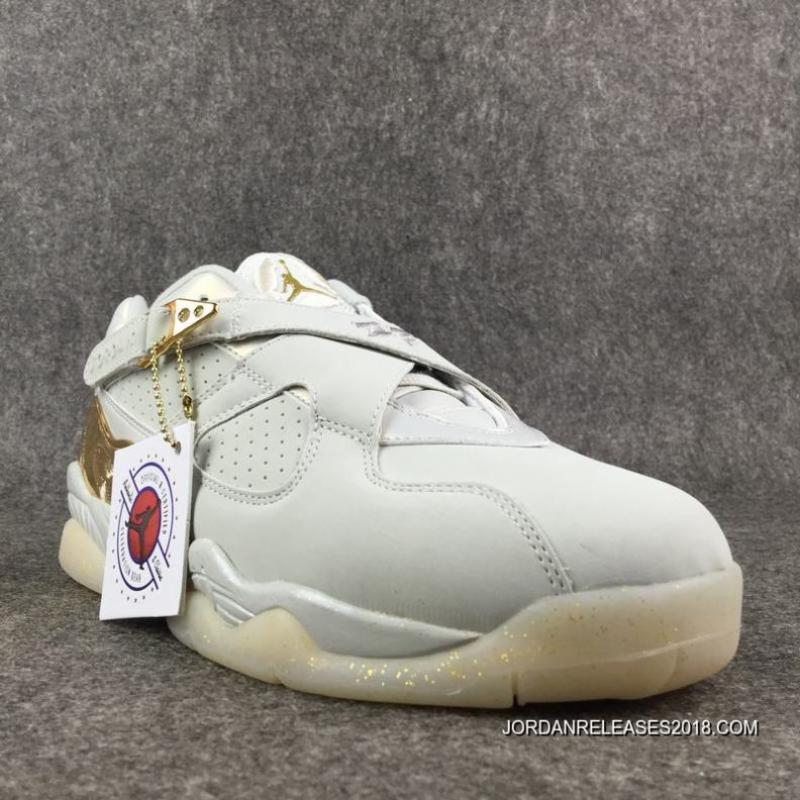 Free Shipping Air Jordan 8 Low Champagne Light BoneMetallic Gold White