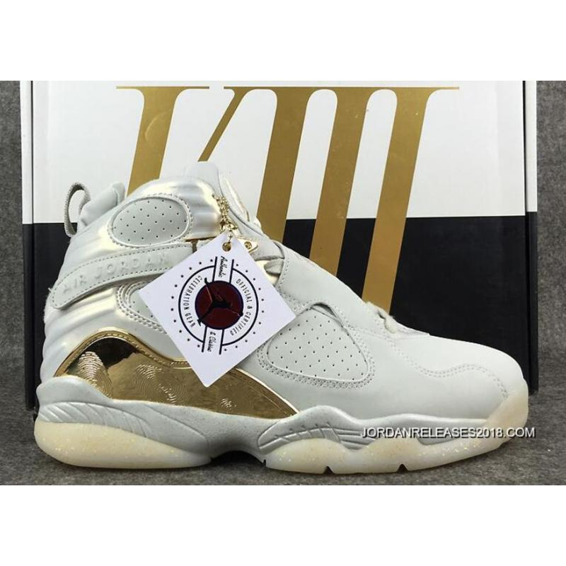 "4505804f4b9 2018 New Release Air Jordan 8 ""Champagne"" Light Bone Metallic Gold-White ..."