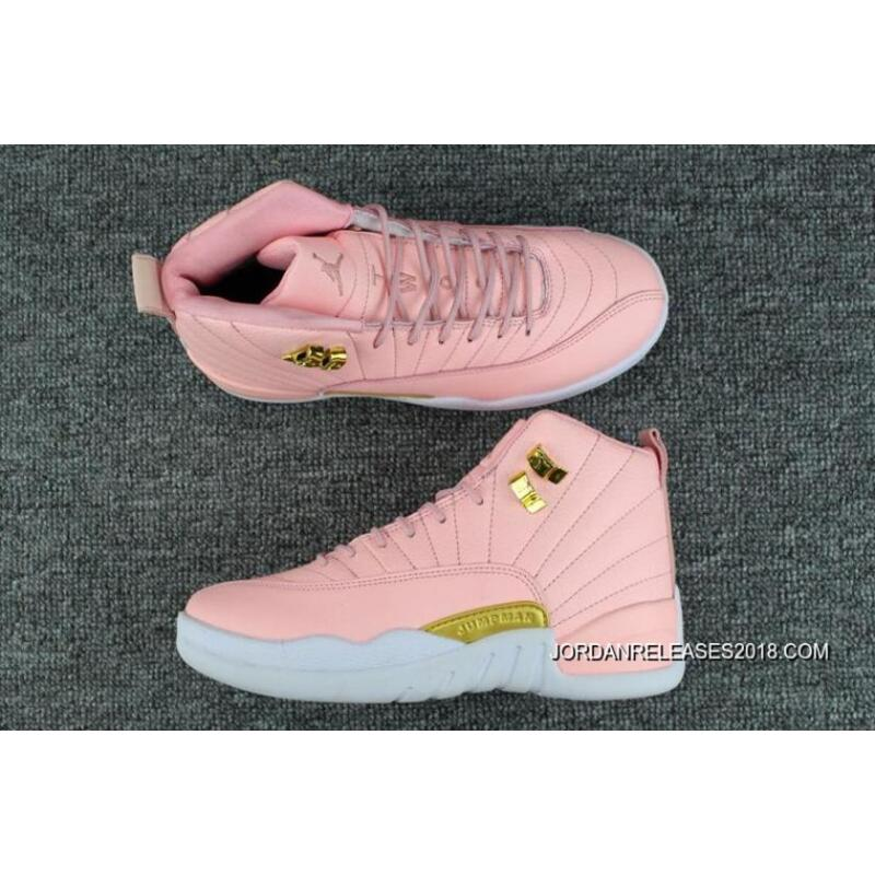 "b049f7fa1e3 2018 Super Deals Air Jordan 12 GS ""Pink Lemonade"" Pink/White-Gold ..."