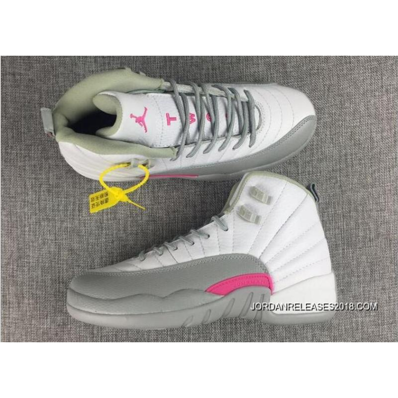 quality design 05ccc 38d4c Air Jordan 12 GS White-Wolf Grey Vivid Pink 2018 New Year Deals ...