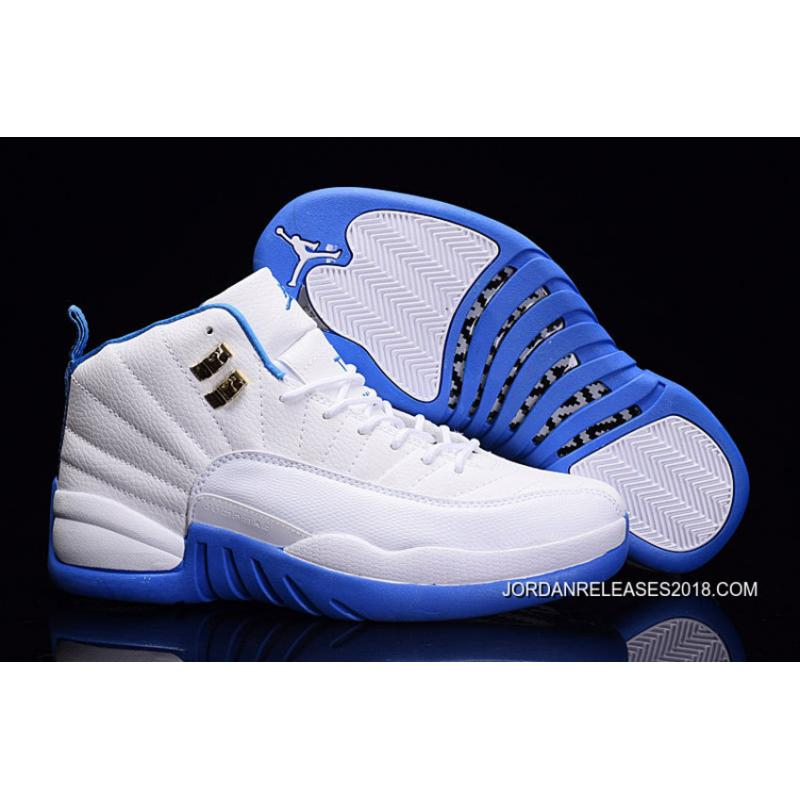 Air Jordan 12 White/Metallic Gold-University Blue 2018 Outlet ...