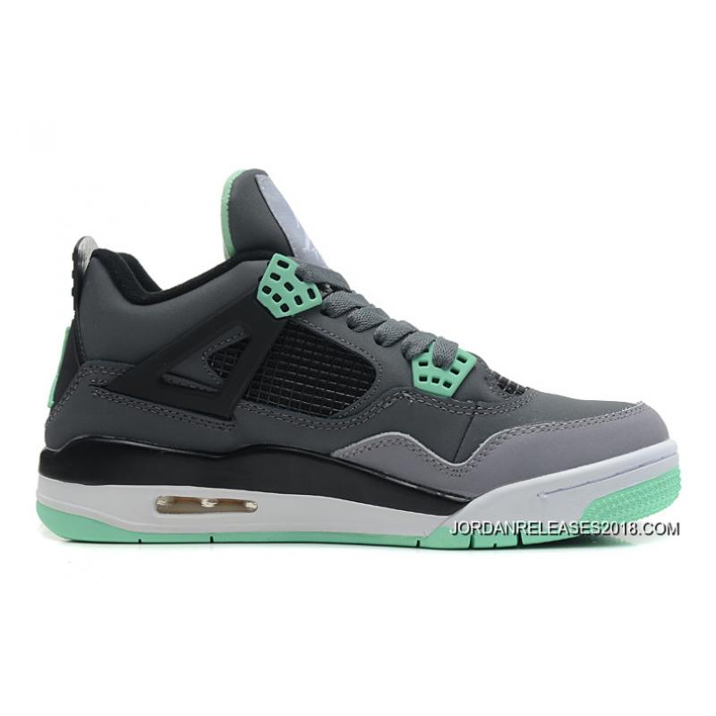 b4c4eb650305 2018 Copuon New Air Jordan 4 Retro Dark Grey Green Glow-Cement Grey- ...