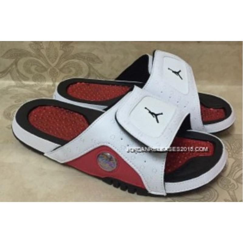8203af08edc74 New Style Jordan Hydro 13 Retro White Red Black Slide Sandals ...