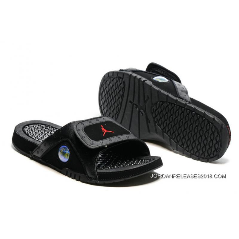 a6675dc9278c05 2018 Top Deals Jordan Hydro 13 Slide Sandals Black Gym Red ...