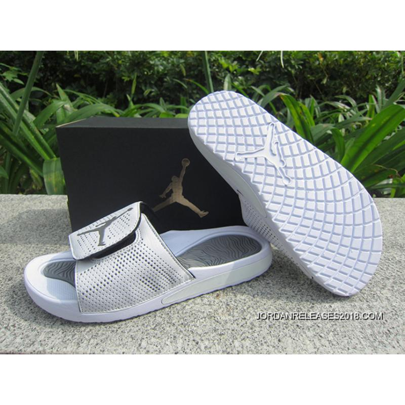 7d73d0f34 WMNS Jordan Hydro V Retro Sandals White Grey New Style ...