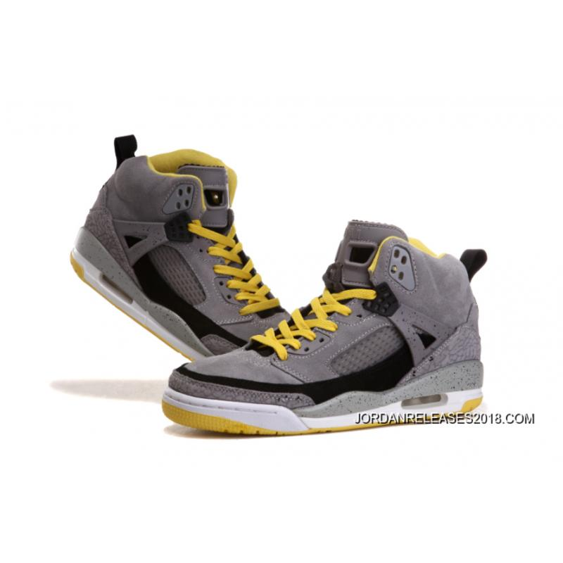 "... 2018 New Release New Jordan Spizike ""Cement   Nubuck"" Grey Yellow-Black  ... 336ba74ac"