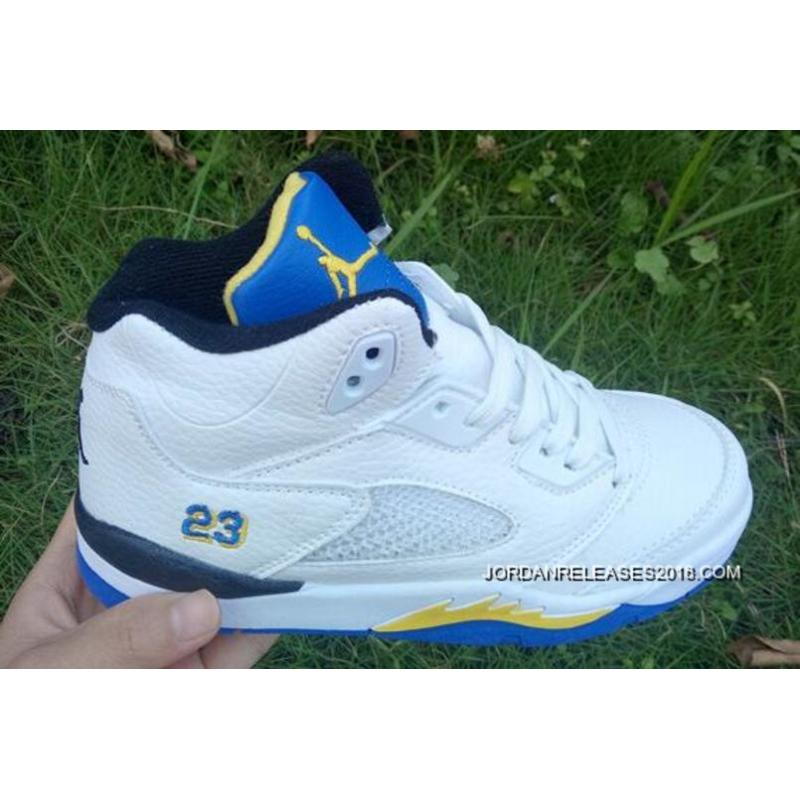"huge discount 0dcf2 b1212 2018 Latest Kids Air Jordan 5 ""Laney"" White Varsity Maize-Varsity Royal ..."