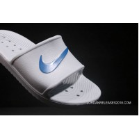 34d6a7b54ce Copuon 2018 Nike From Laser Marking Authentic Slides TAB Benassi Slides TAB  Swoosh White Blue Shoes