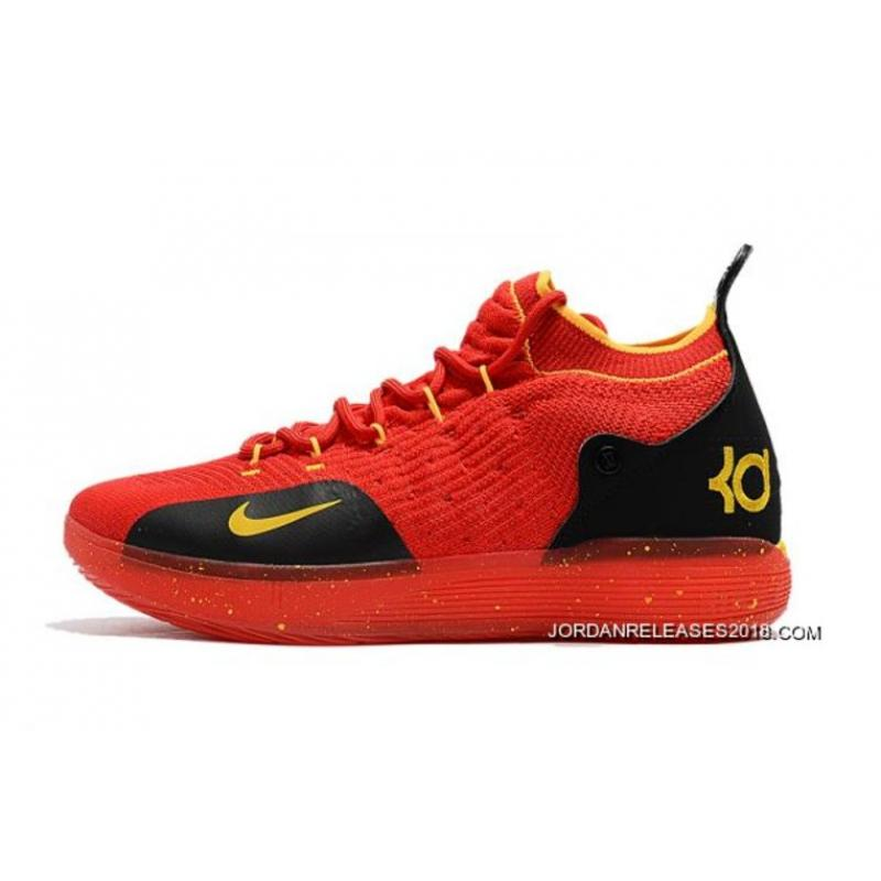 027aeee71603 Men s Nike KD 11 University Red Black-Yellow Basketball Shoes New Year  Deals ...