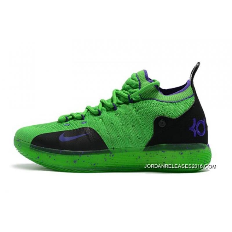 64b492b5d94a Kevin Durant s Nike KD 11 Green Black-Purple For Sale ...