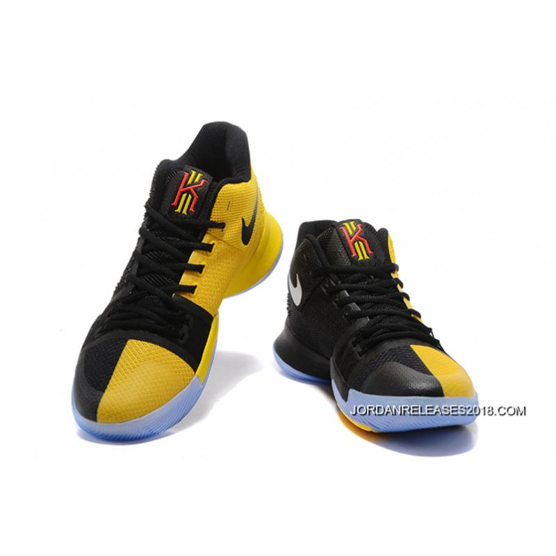 2018 For Sale Nike Kyrie 3 NBA Finals PE Black Yellow ...