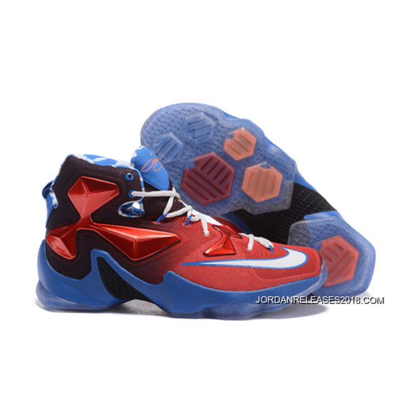 "Nike LeBron 13 ""USA"" Red White-Blue Basketball Shoes 2018 Outlet ... 843f2cd5d"