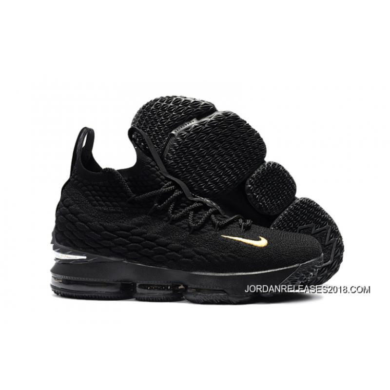 "be06daf74f5 2018 For Sale Nike LeBron 15 ""PK80″ All Black ..."