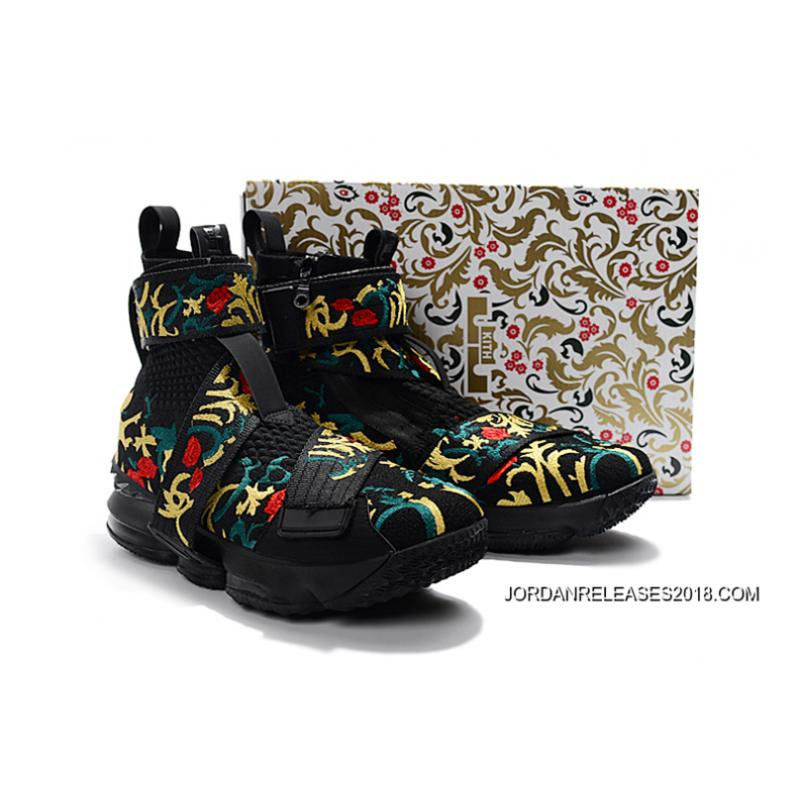 "... New Release KITH X Nike LeBron 15 Lifestyle ""King s Crown"" Black Gold  Floral ... f55a3b9337"