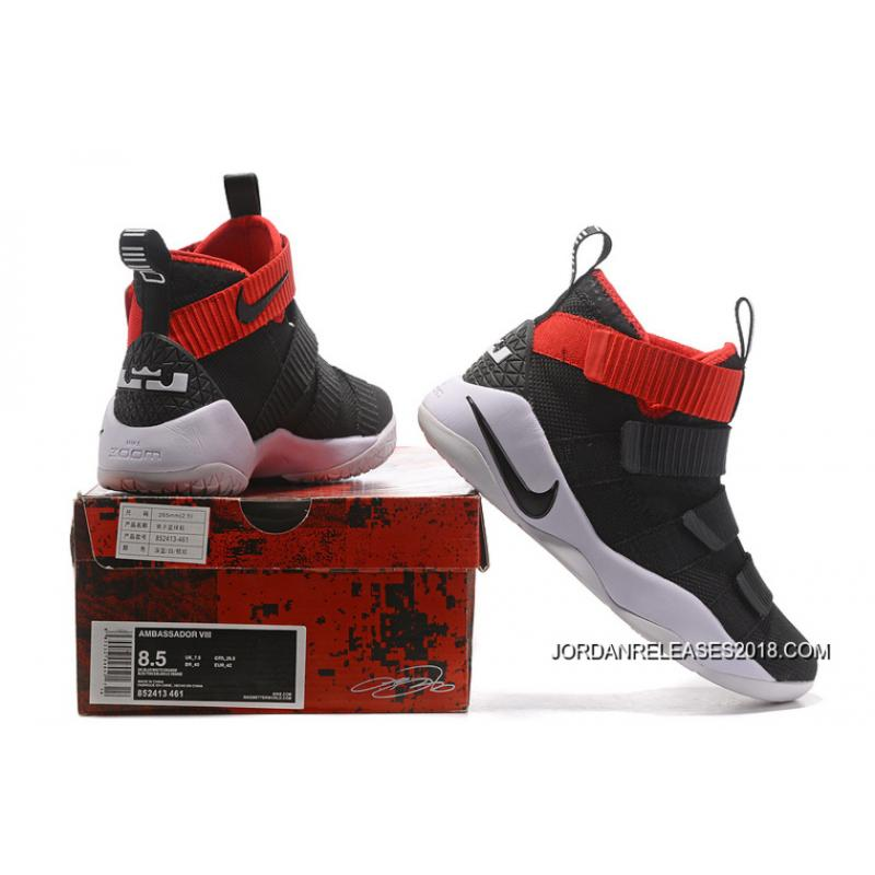 new concept ca3e0 702c4 Best Nike LeBron Soldier 11 Black White Red PE
