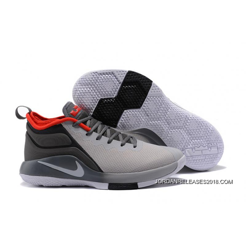 21e5a17031c 2018 Discount Nike LeBron Zoom Witness 2 Grey Black Red Basketball Shoes ...
