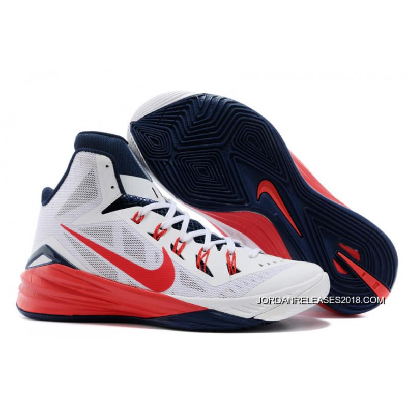 "9656531e4107 Nike Hyperdunk 2014 ""USA"" White University Red-Obsidian New Style ..."