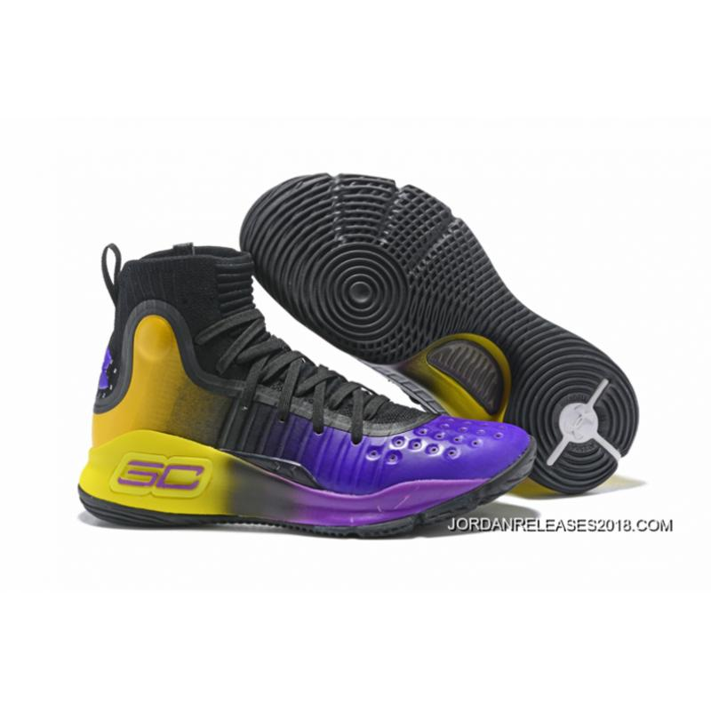 300a772a2a33 Under Armour Curry 4 Black Purple Yellow 2018 New Style ...