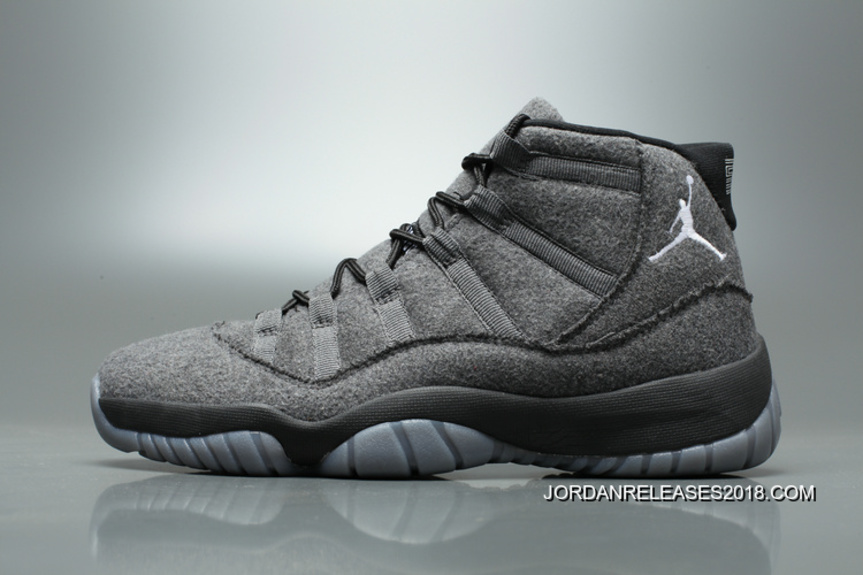 New Air Jordan 11 Grey Black Wool Online