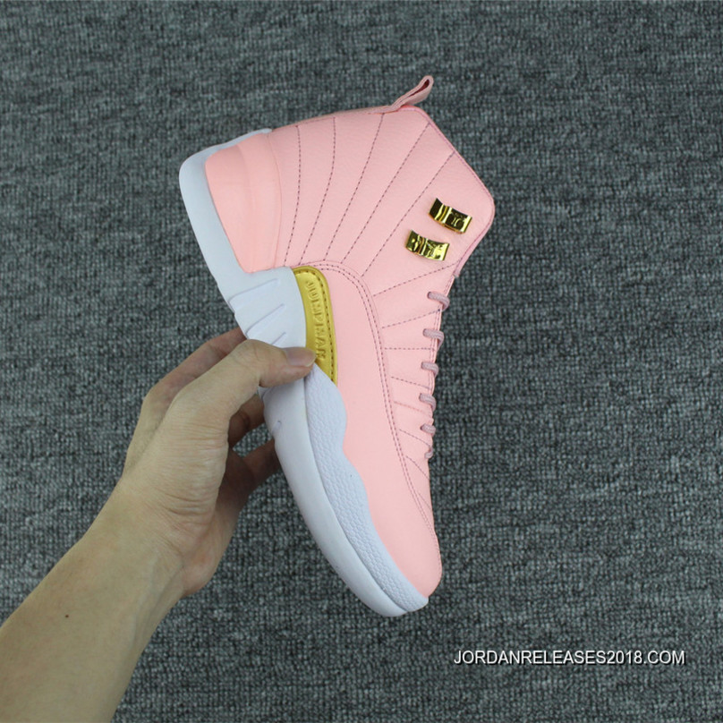 "fbe679edd3d 2018 Super Deals Air Jordan 12 GS ""Pink Lemonade"" Pink/White-Gold ..."