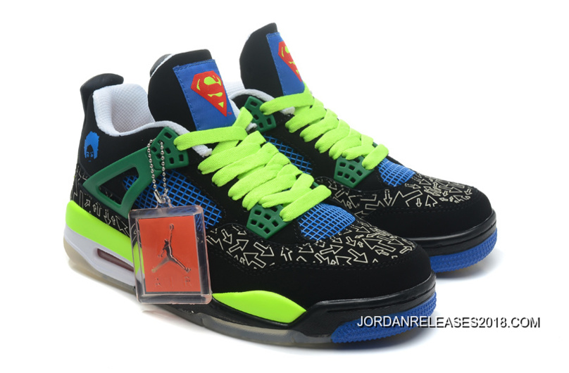 "2018 Best New Air Jordan 4 Retro Doernbecher ""Superman"" Black Old Royal- 4fbcafef42"