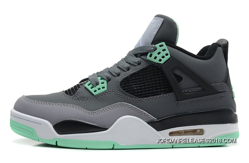 super popular 2a26d b4ff1 2018 Copuon New Air Jordan 4 Retro Dark Grey Green Glow-Cement Grey-