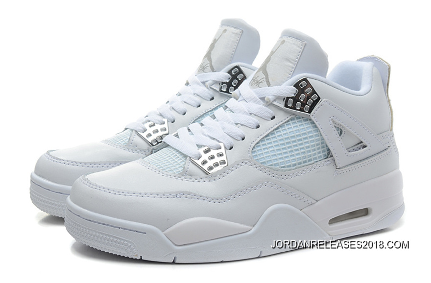 "low priced 302b9 00312 New Air Jordan 4 Retro ""Silver 25th Anniversary"" White Metallic Silver 2018  Outlet"