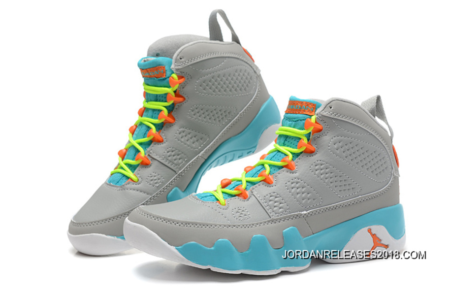 sports shoes ed7ee 2b733 2018 New Release New Air Jordan 9 GS Wolf Grey Neon Orange-Mint Candy
