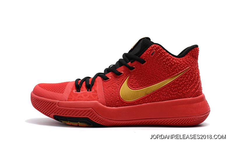 bf25c292d878 Girls Nike Kyrie 3 Red Black Gold 2018 Outlet