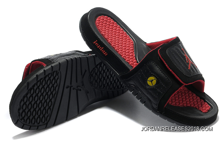 finest selection 8a91e b7a7c 2018 New Release Air Jordan Hydro 14 Black Red Slide Slippers