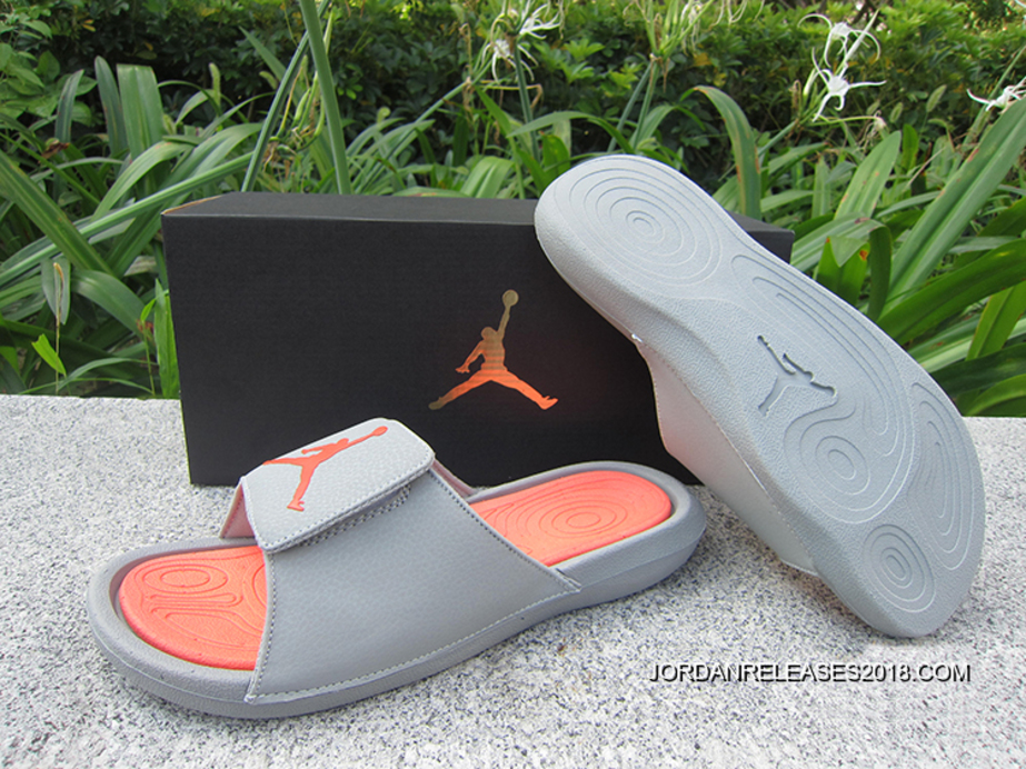 79b30dd85887b1 Air Jordan Hydro 6 Sandals Grey Orange New Release