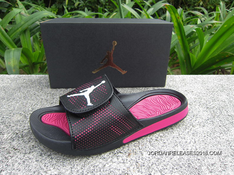 b9e621a5044776 WMNS Jordan Hydro V Retro Sandals Black Pink White Outlet