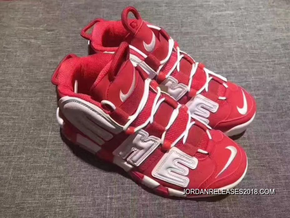 2018 Supreme X Nike Air More Uptempo Varsity RedWhite Discount