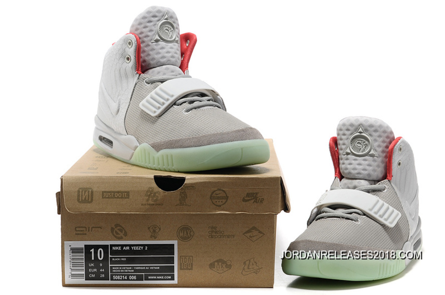 98d19d1741c511 Nike Air Yeezy 2 Wolf Grey Pure Platinum Glow In The Dark 2018 Outlet