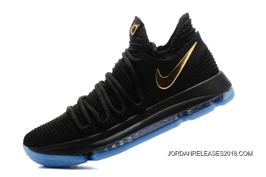 7d1193c94ed 2018 Latest Nike KD 10 Black Gold Blue