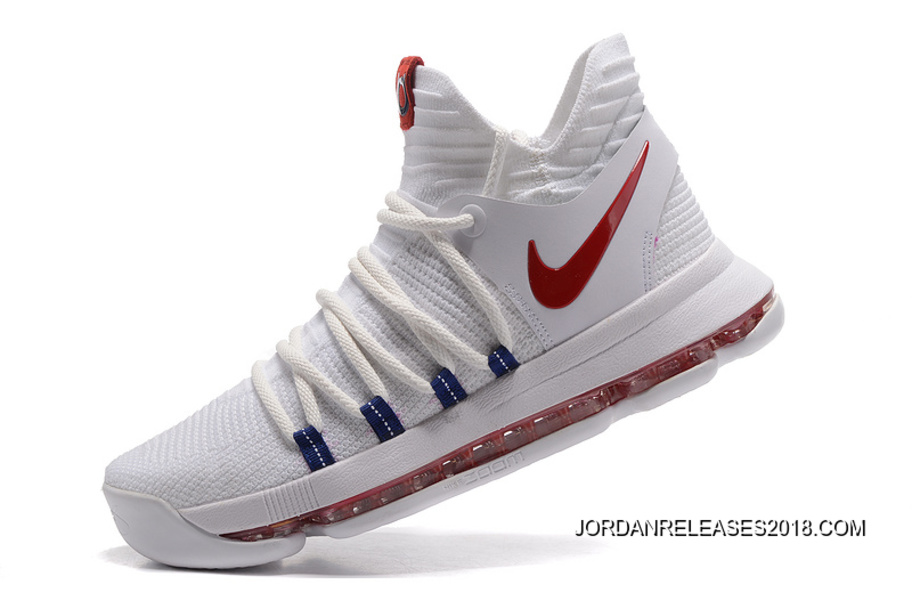 """69a2035c479 Nike KD 10 """"USA"""" White University Red-Race Blue Outlet"""