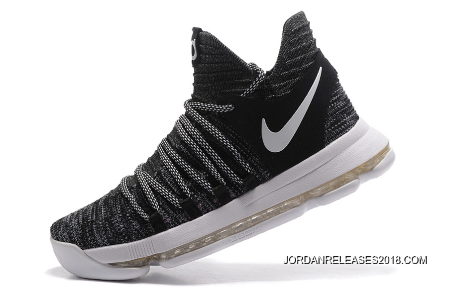 "34c1090296e6 2018 Outlet Nike KD 10 ""Oreo"" Black White"