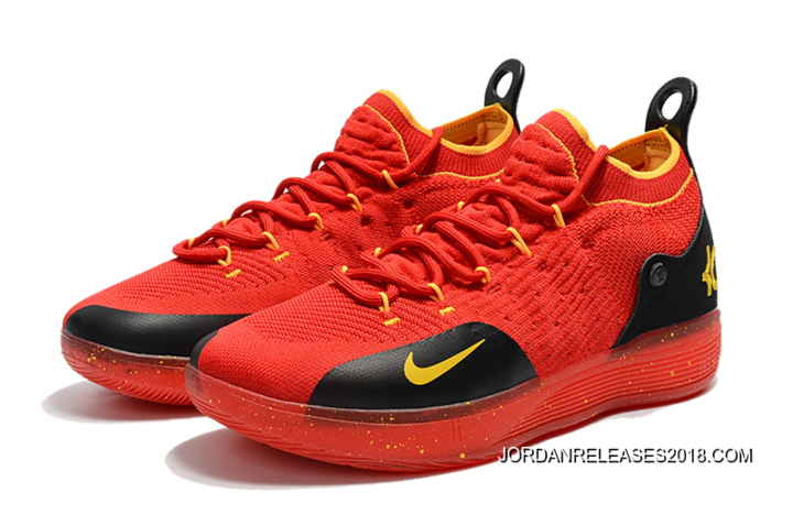 b5fbe5b22571 Men s Nike KD 11 University Red Black-Yellow Basketball Shoes New Year Deals