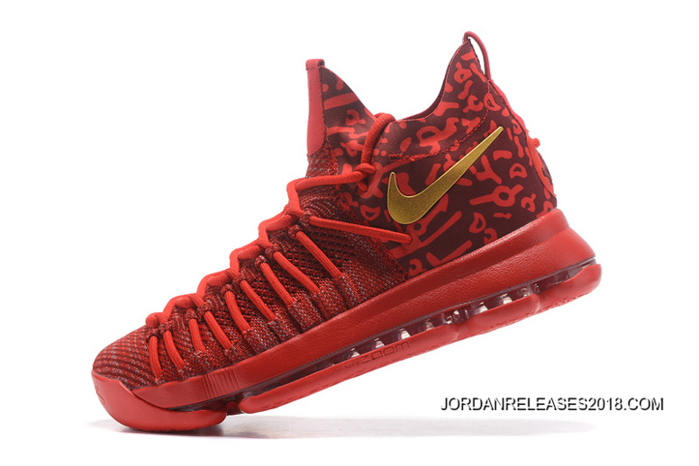 best service 0989d 80f3f Nike Zoom KD 9 Elite Varsity Red Gold Basketball Shoes 2018 New Release