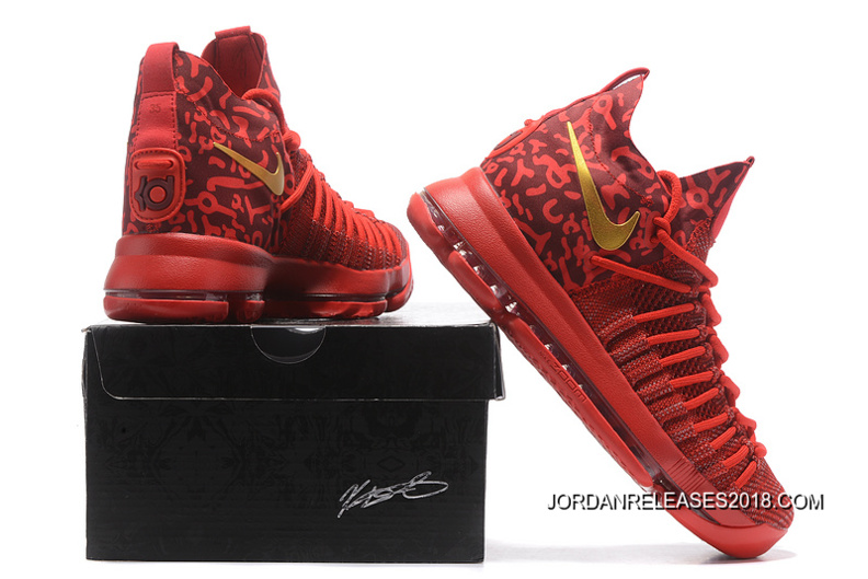 Nike Zoom KD 9 Elite Varsity Red Gold Basketball Shoes 2018 New Release dba7b4a70