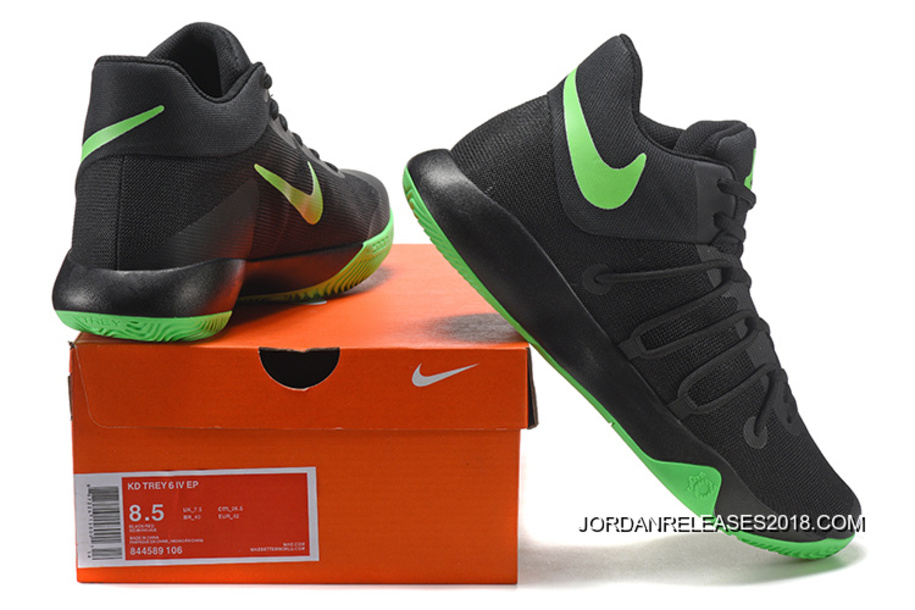 7549efb317c3 2018 New Release Nike KD Trey 6 Black Green Basketball Shoes