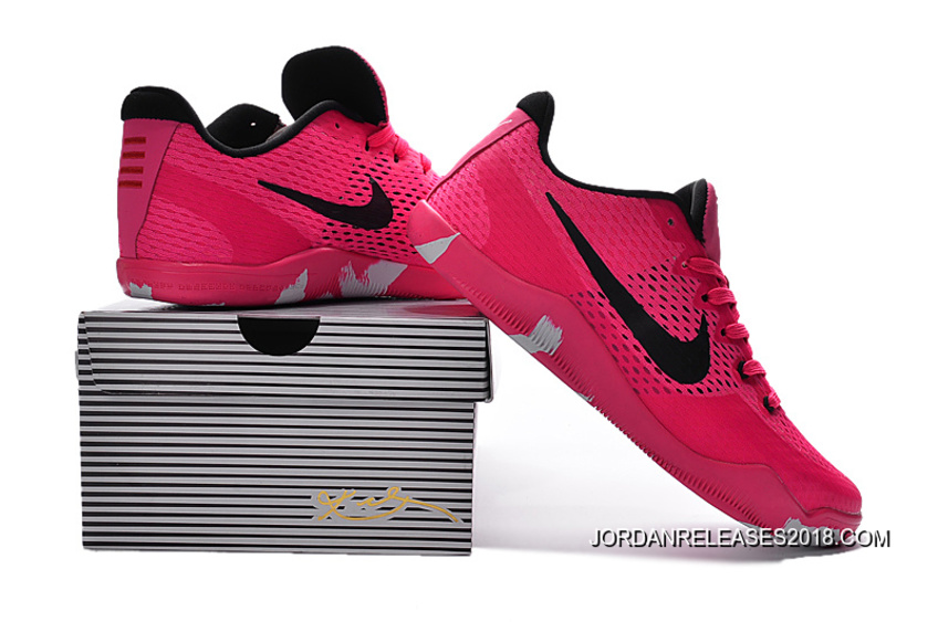 cb7ef6fc20f8 Free Shipping Nike Kobe 11 EM Breast Cancer Pink Black Basketball Shoes