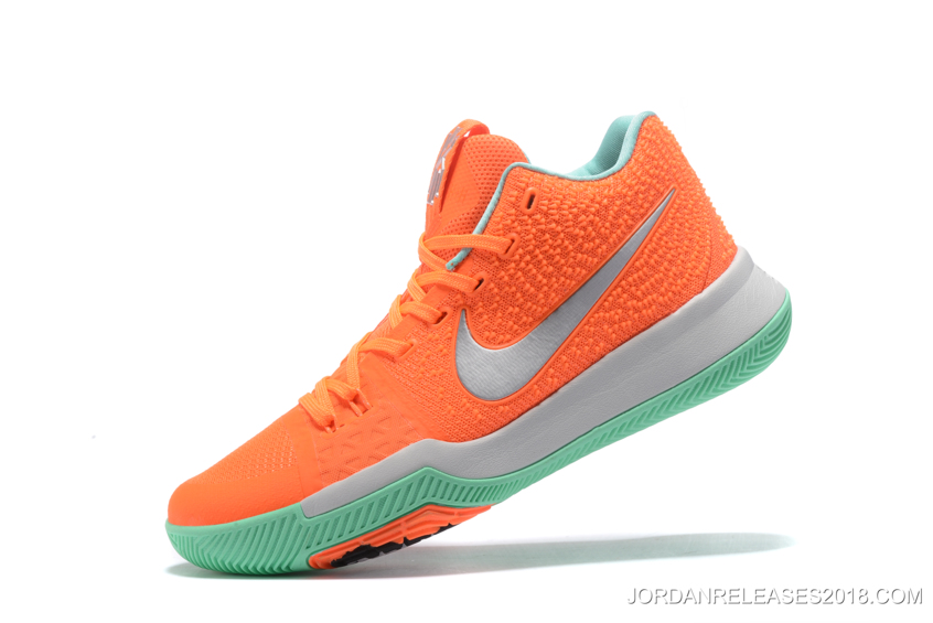 bdce199bb5eceb Nike Kyrie 3 Orange Green Silver Basketball Shoes 2018 New Release ...