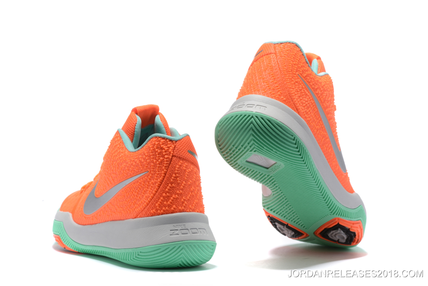 afa1c01a2db5 Nike Kyrie 3 Orange Green Silver Basketball Shoes 2018 New Release ...