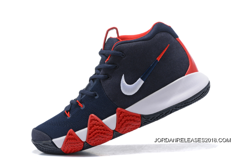 "91c42ff3962f Nike Kyrie 4 ""USA"" Navy Blue White-Red Best"
