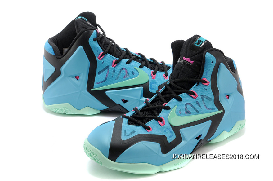 """75a4299601ccb 2018 New Year Deals Nike LeBron 11 """"South Beach"""" Turquoise Black-Pink"""