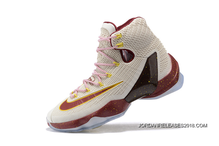 66831006746 2018 New Style Nike LeBron 13 Elite Cavs White Wine Red Yellow Basketball  Shoes